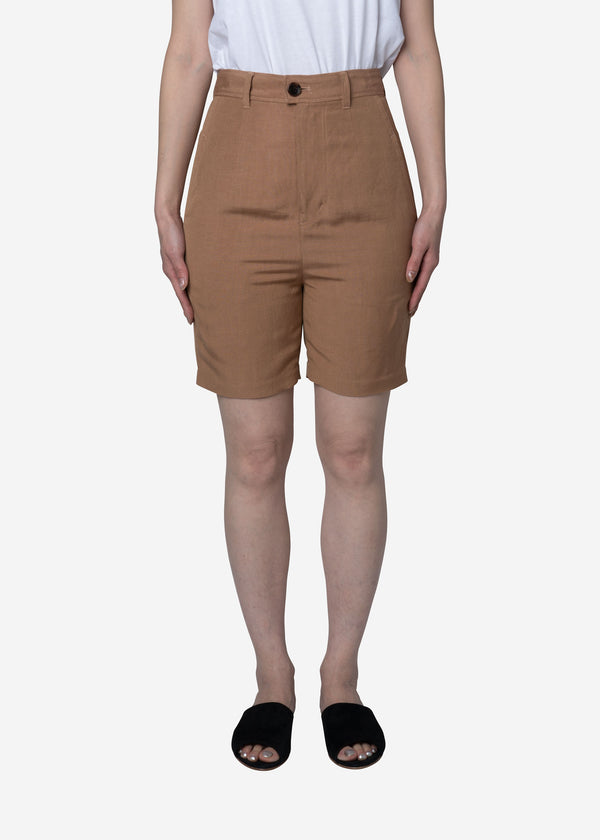 Linen Satin Half Pants in Camel