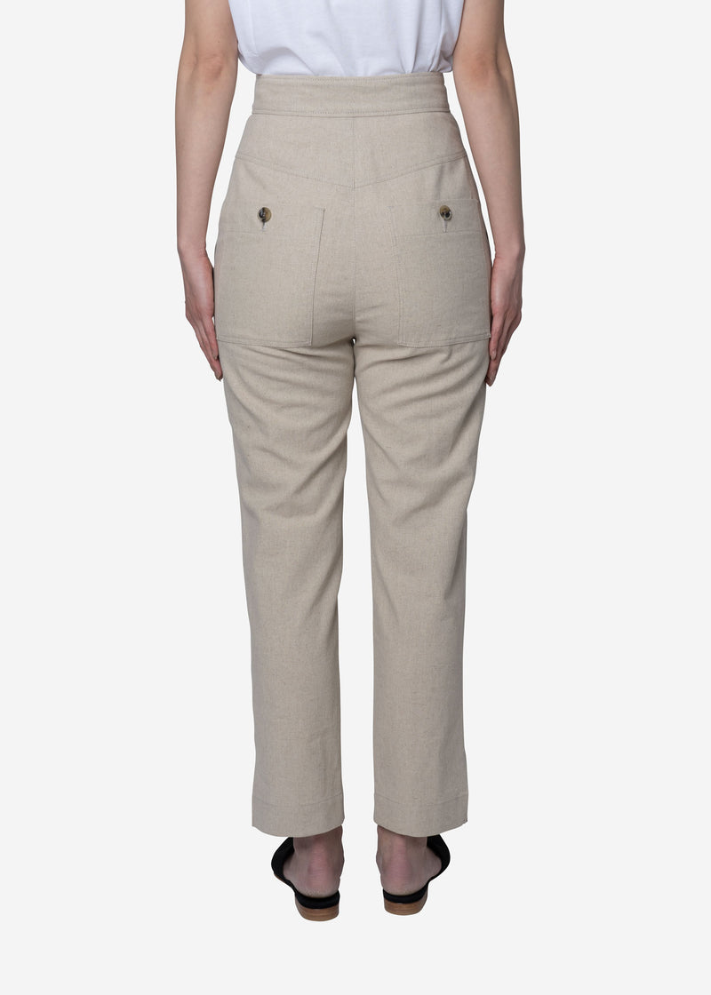 Soft Linen Canvas Pants in Natural