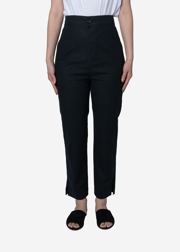 Soft Linen Canvas Pants in Black