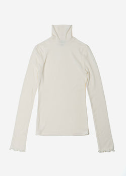 Cosmorama Wool High Neck Top in Off White