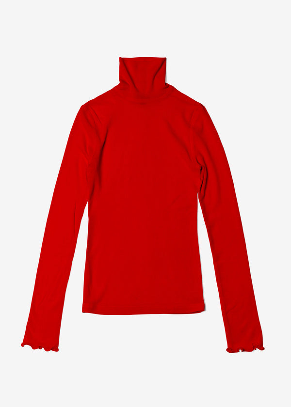 Cosmorama Wool High Neck Top in Red
