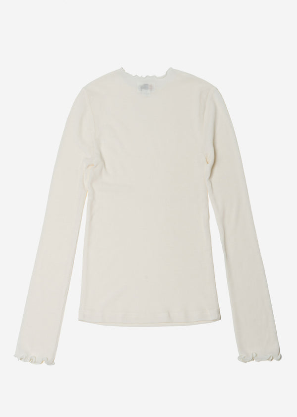 Cosmorama Wool Crew Neck Top in Off White