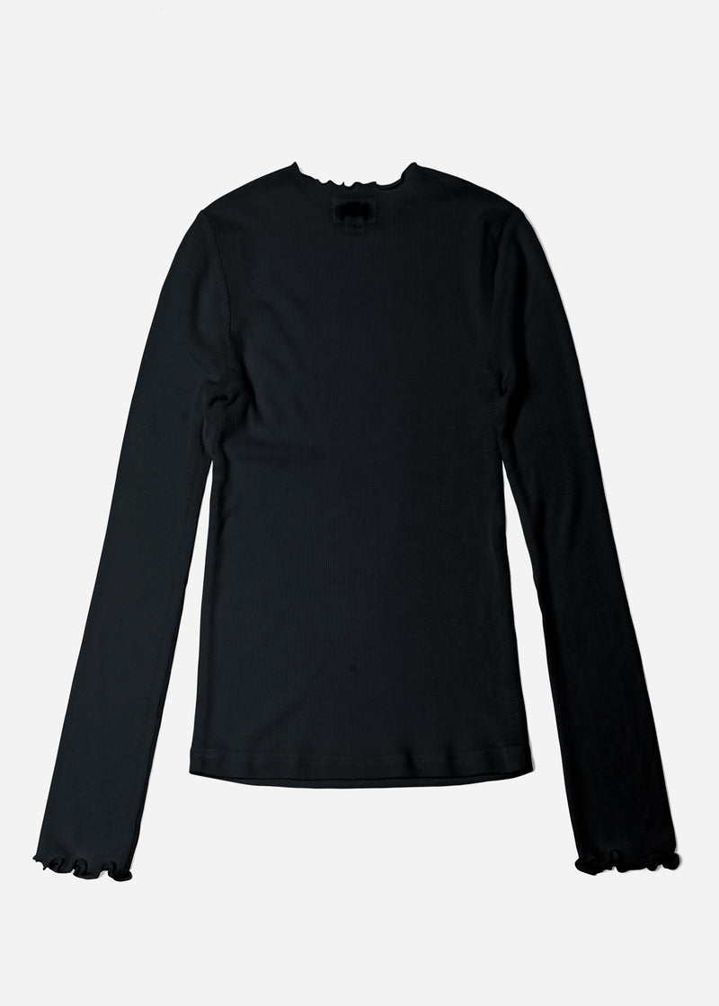 Cosmorama Wool Crew Neck Top in Black