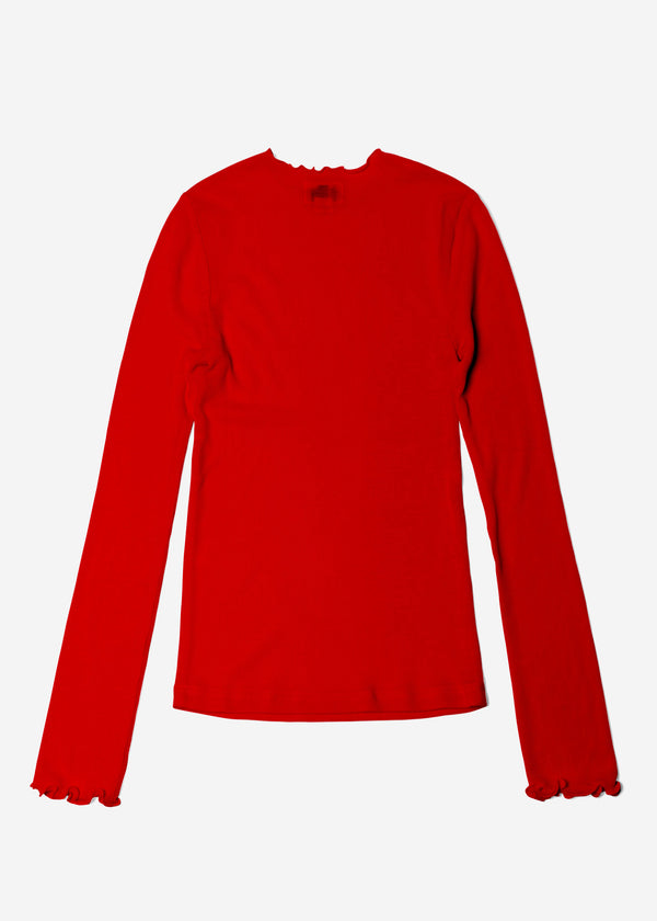 Cosmorama Wool Crew Neck Top in Red