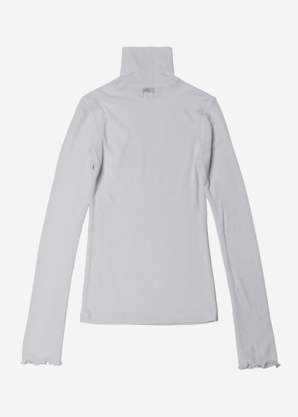 Cosmorama Wool High Neck Top in Light Gray