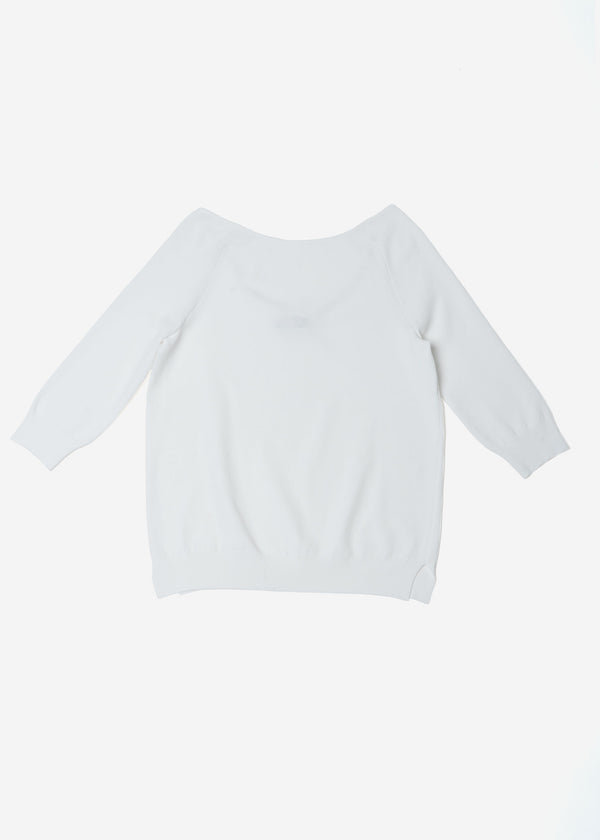 Fine Stretch Boat Neck Knit Sweater in White