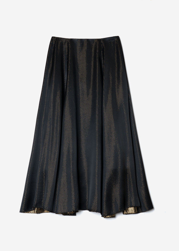 Sparkle Lame Flared Skirt in Black