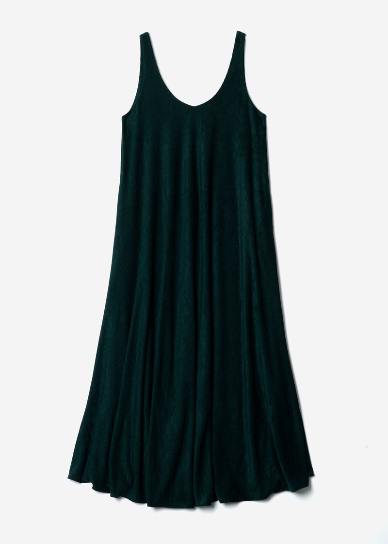 Striped Velour Sleeveless Dress in Green