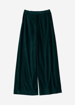 Striped Velour Wide Pants  in Green