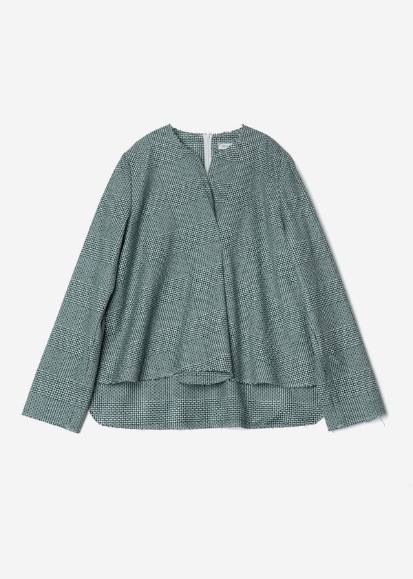 Super120Wool Glen Check Tuck Blouse in Green