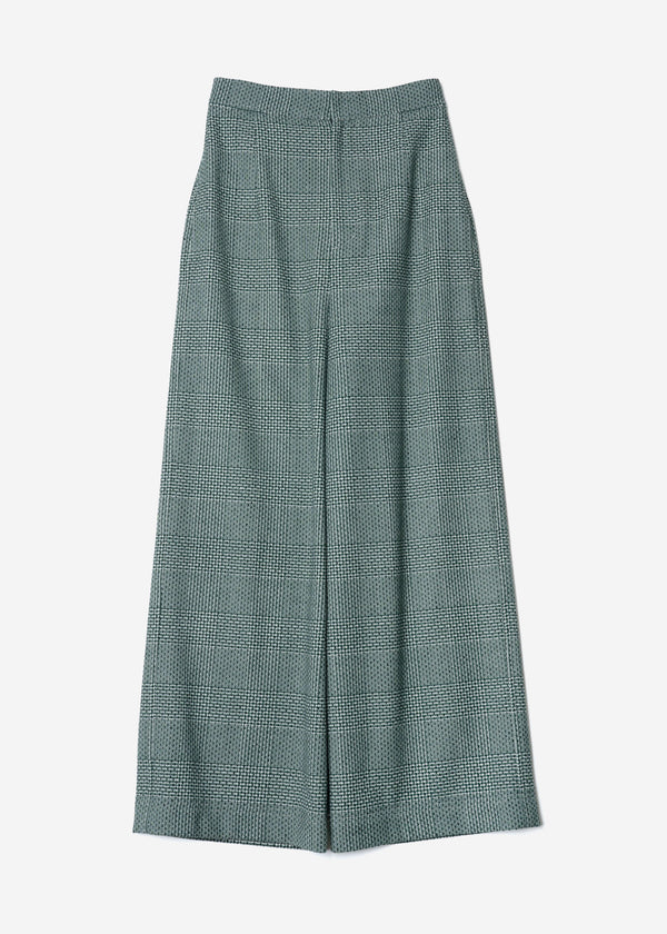 Super120Wool Glen Check Wide Pants in Green