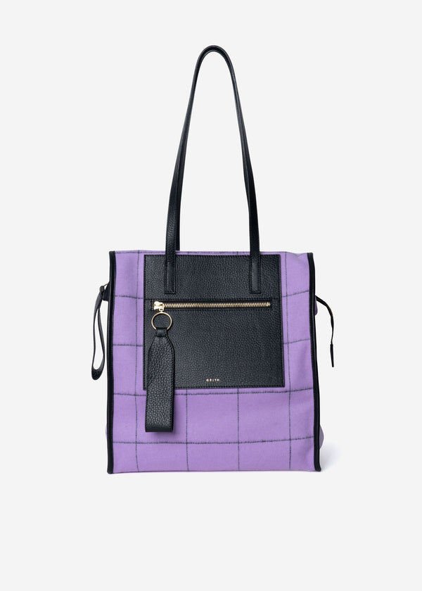 Reversible Check Bag in Lavender