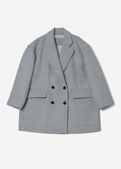 Reversible Check Wool Half Coat in Gray