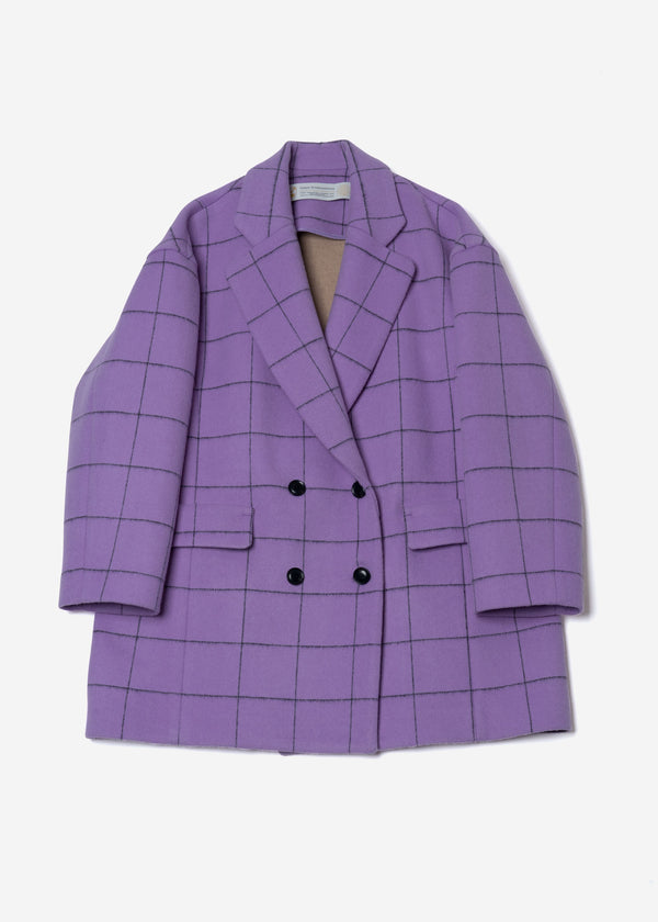 Reversible Check Wool Half Coat in Lavender