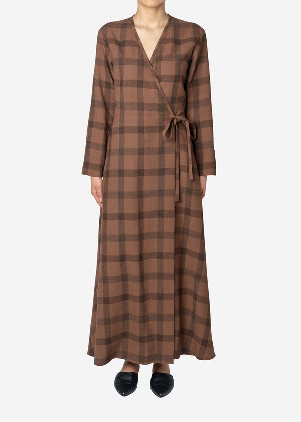 Wool Check Wrap Dress in Brown