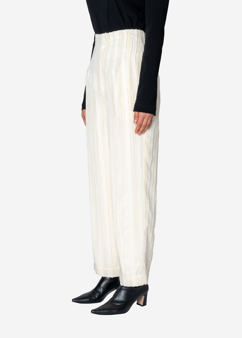 Striped Jacquard High Waist Pants in Off White