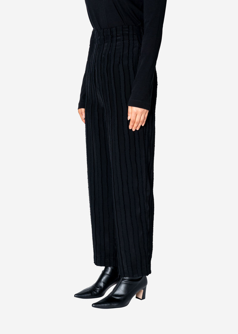 Striped Jacquard High Waist Pants in Black