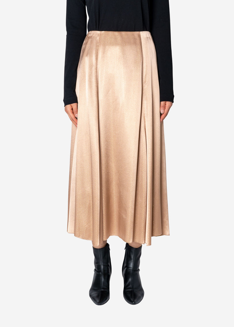 Sparkle Lame Flared Skirt in Beige
