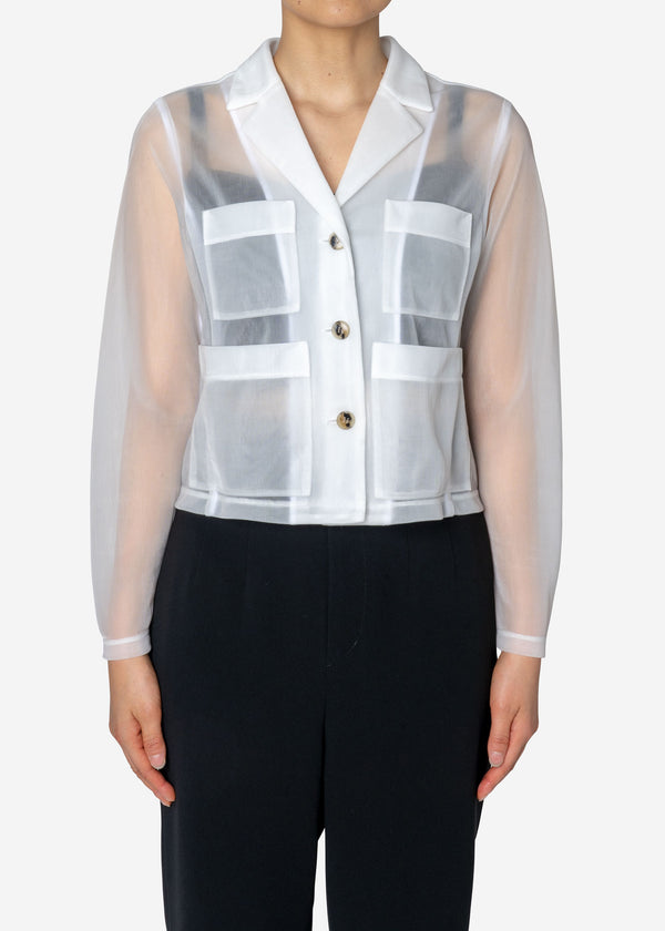 Sheer Nylon Jacket in White