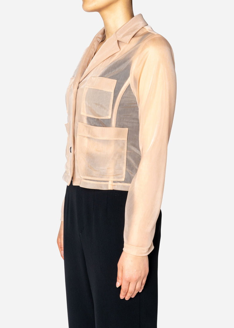 Sheer Nylon Jacket in Beige