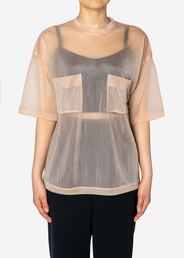 Sheer Nylon T-Shirts in Beige