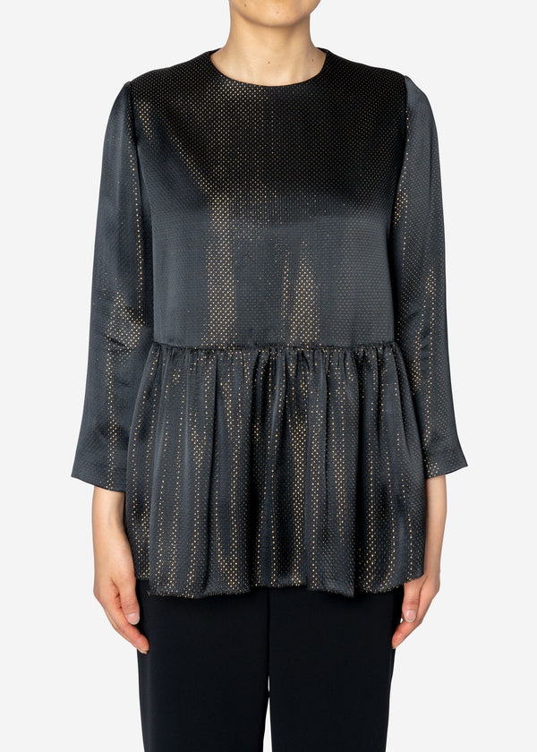 Sparkle Lame Flared Blouse in Black