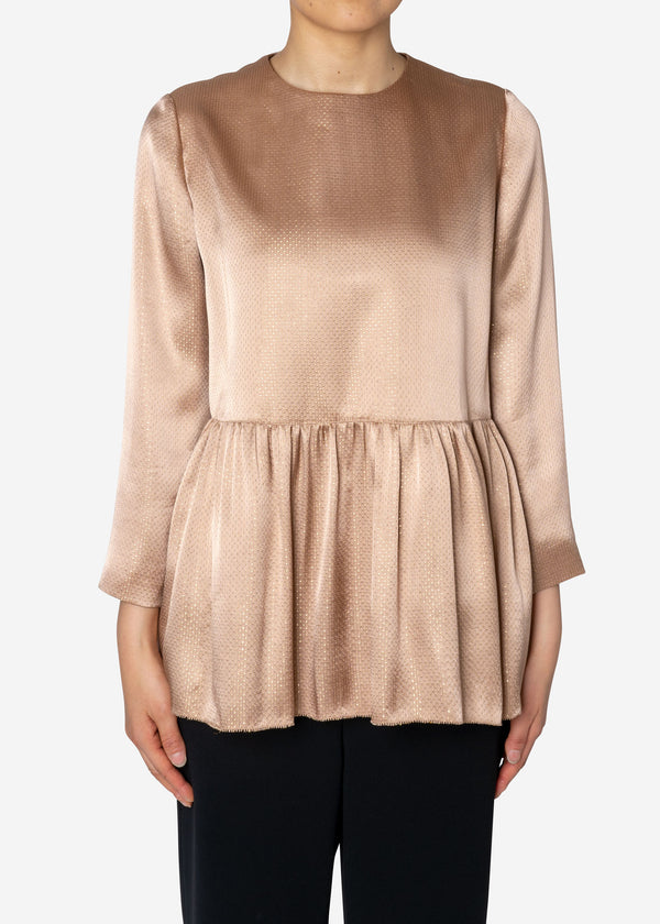 Sparkle Lame Flared Blouse in Beige