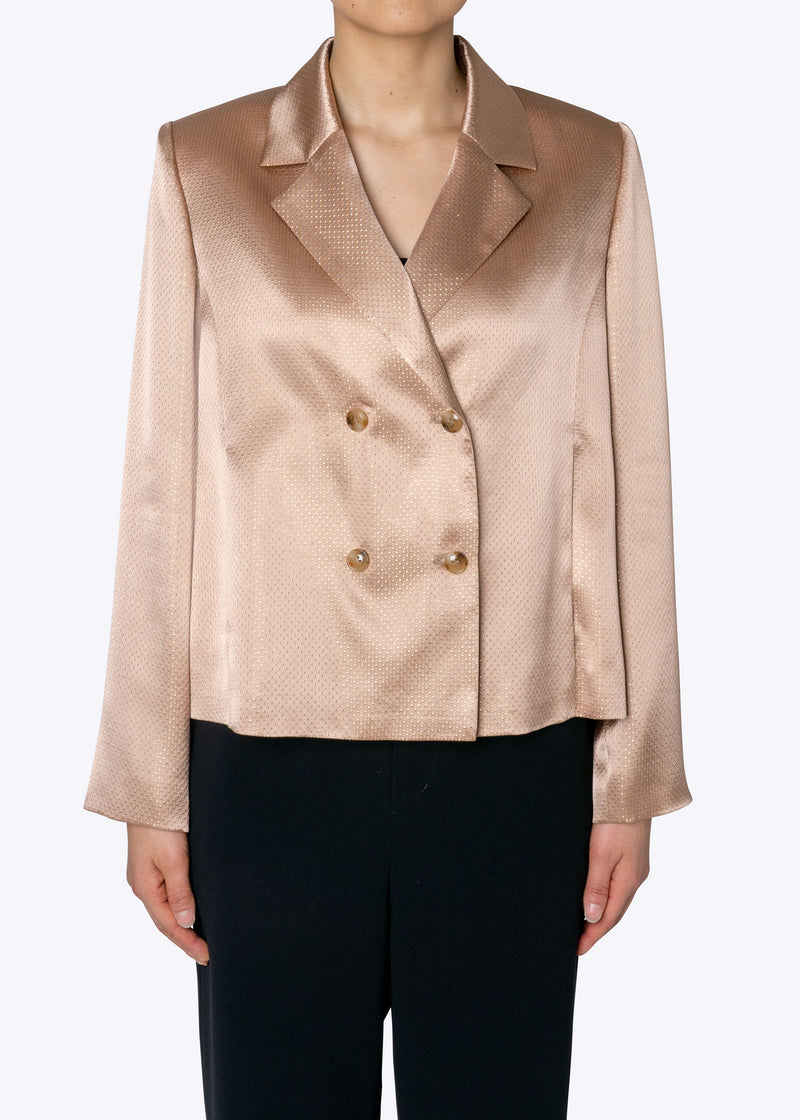 Sparkle Lame Shirts Jacket in Beige