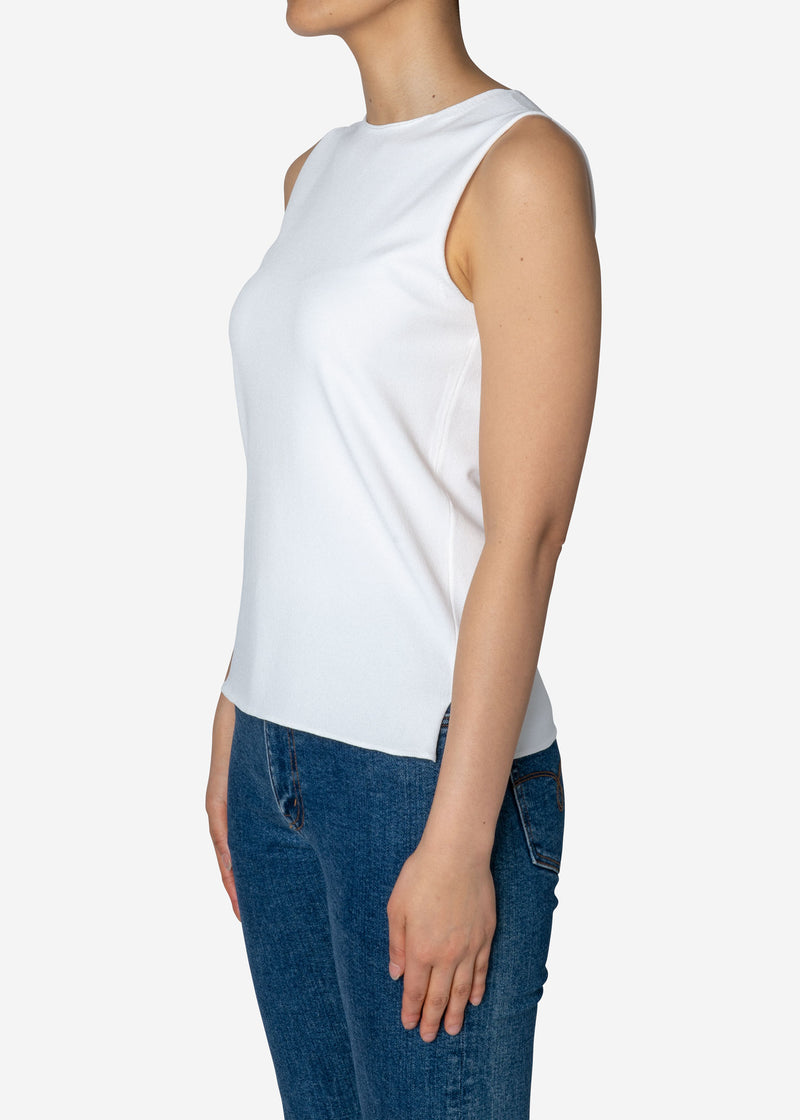 Fine Stretch Sleeveless Knit Sweater in White