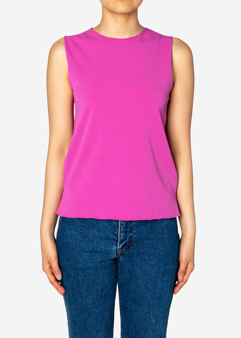 Fine Stretch Sleeveless Knit Sweater in Pink