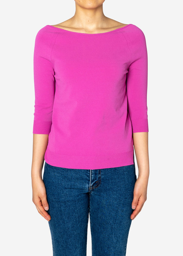 Fine Stretch Boat Neck Knit Sweater in Pink