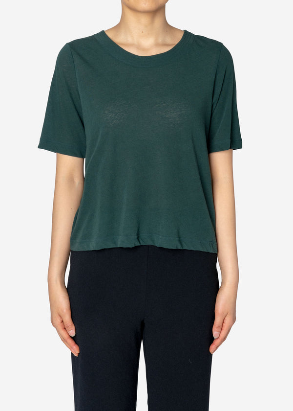 Technorama Cotton Linen Crew neck T in Green