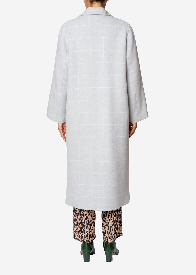 Reversible Check Wool Long Coat in Gray