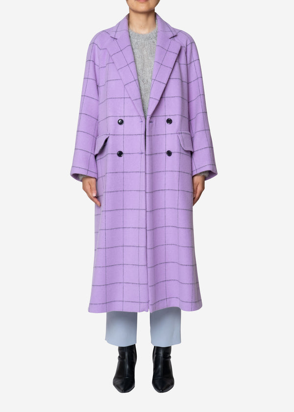 Reversible Check Wool Long Coat in Lavender