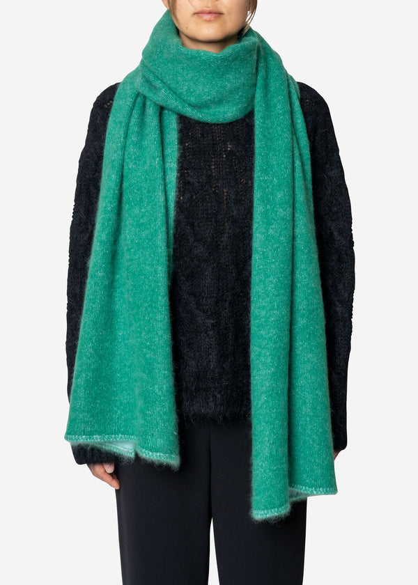 Pure Cashmere Muffler in Green