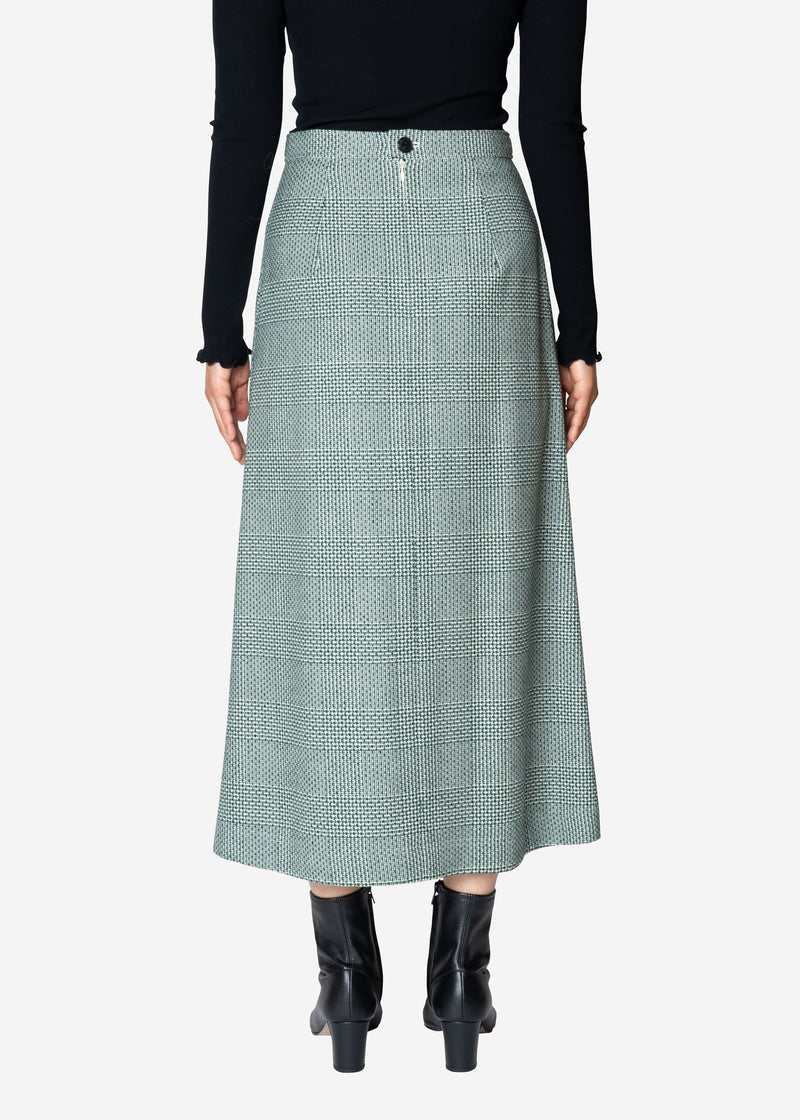 Super120Wool Glen Check Skirt in Green