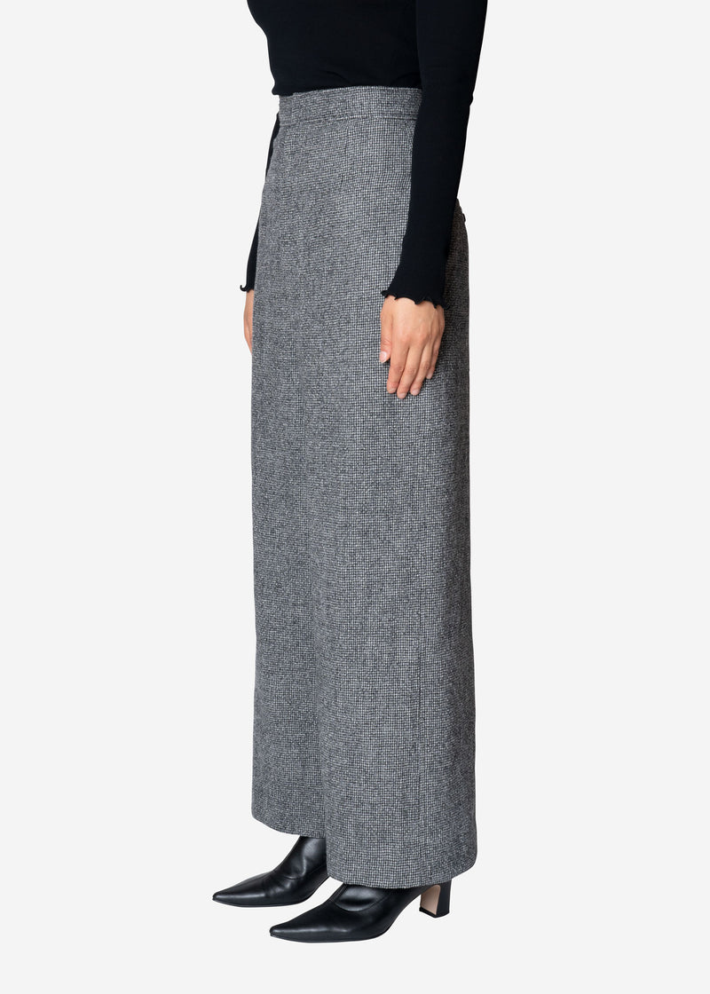 Wool Gingham Check Wide Pants in Black