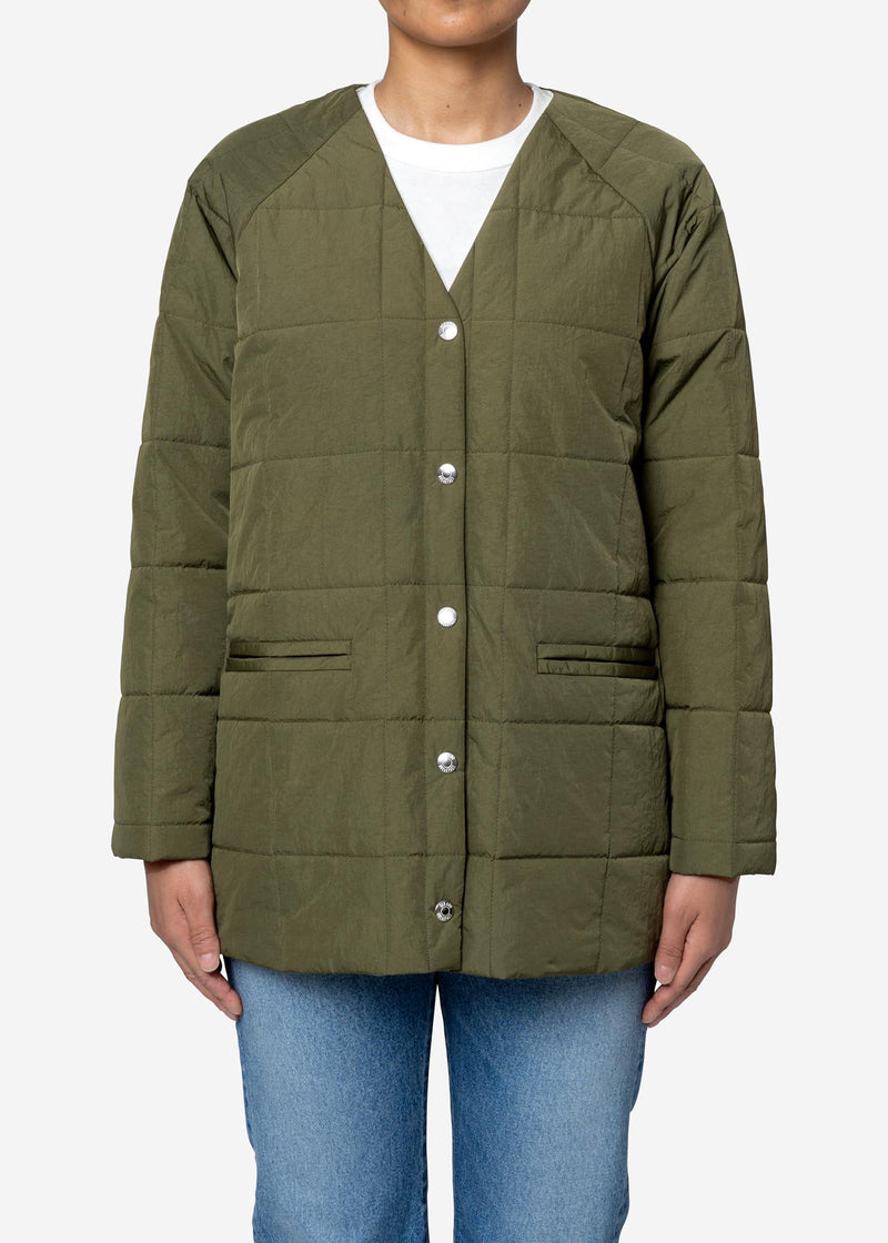 Nylon Taffeta Quilted Liner Half Jacket in Khaki