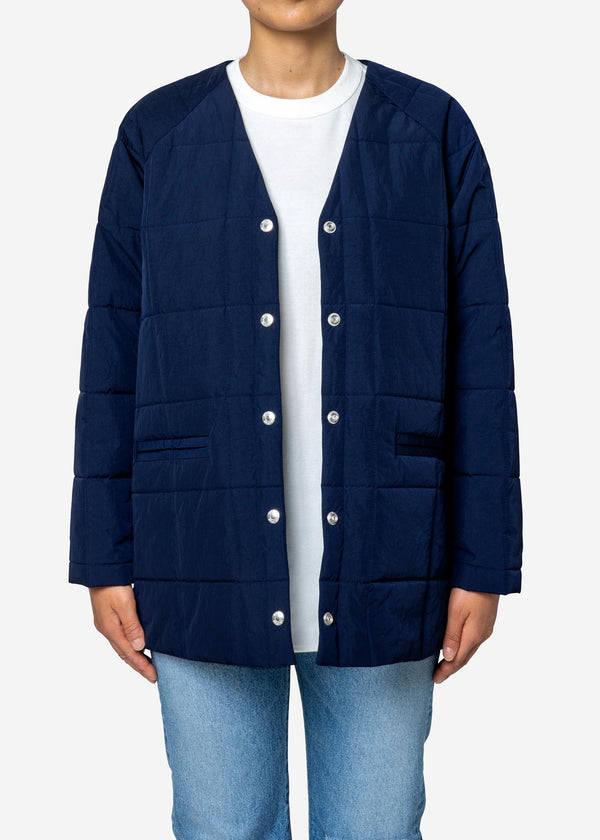 Nylon Taffeta Quilted Liner Half Jacket in Navy