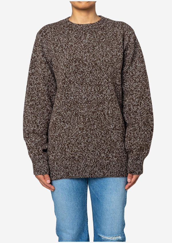 Wool Mix Knit Crew Neck Sweater in Brown Mix
