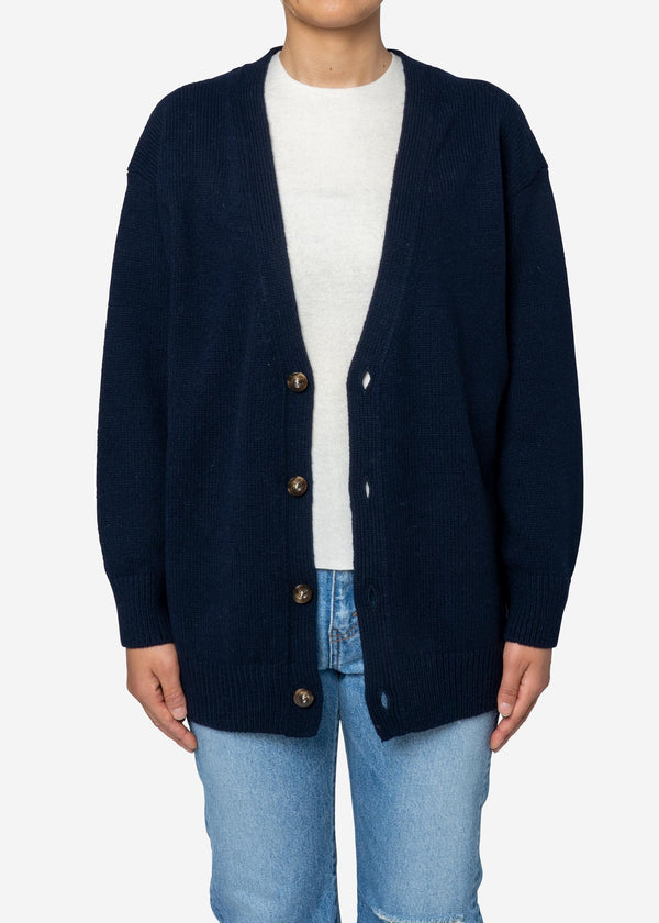 Wool Mix Knit Cardigan in Navy