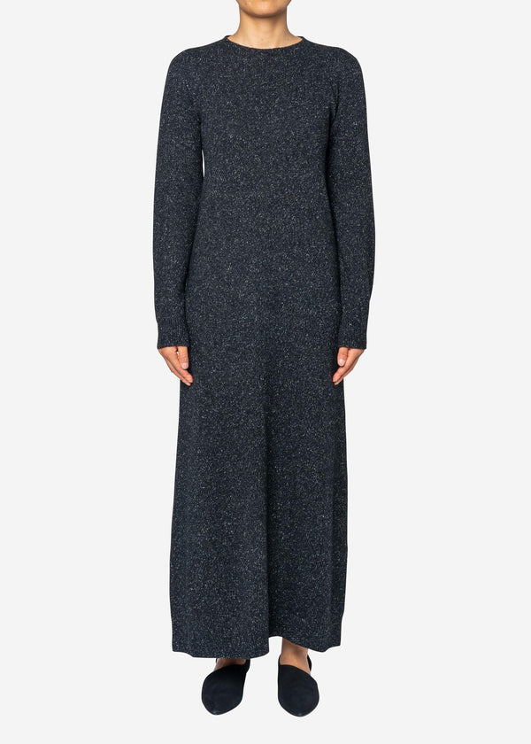 Silk Nep Wool Knit Dress in Black Mix