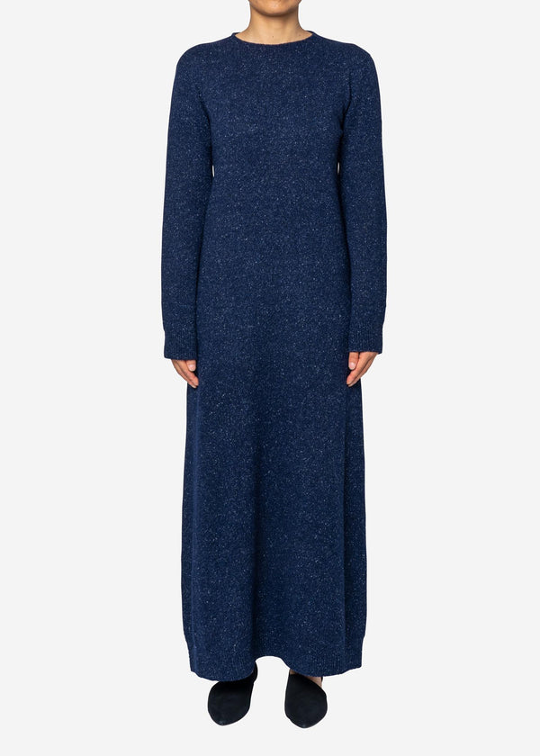 Silk Nep Wool Knit Dress in Navy Mix