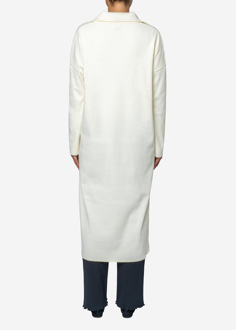 Melange Zip Up Dress in Off White