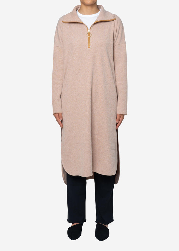 Melange Zip Up Dress in Beige Mix