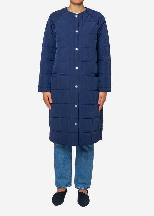 Nylon Taffeta Quilted Liner Long Coat in Navy