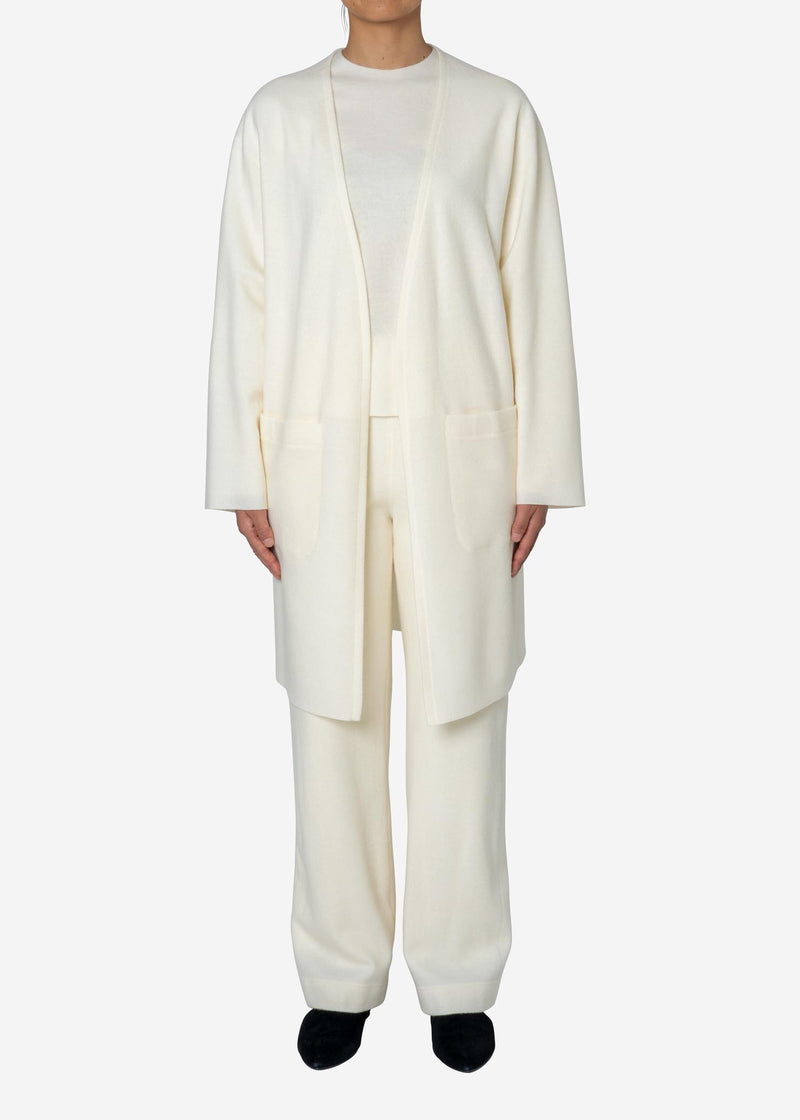Balancircular Air Melton Cardigan in Off White
