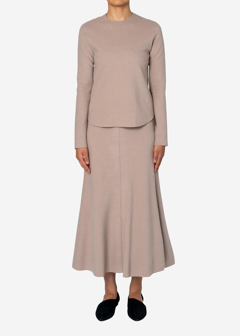 Balancircular Air Melton Skirt in Beige