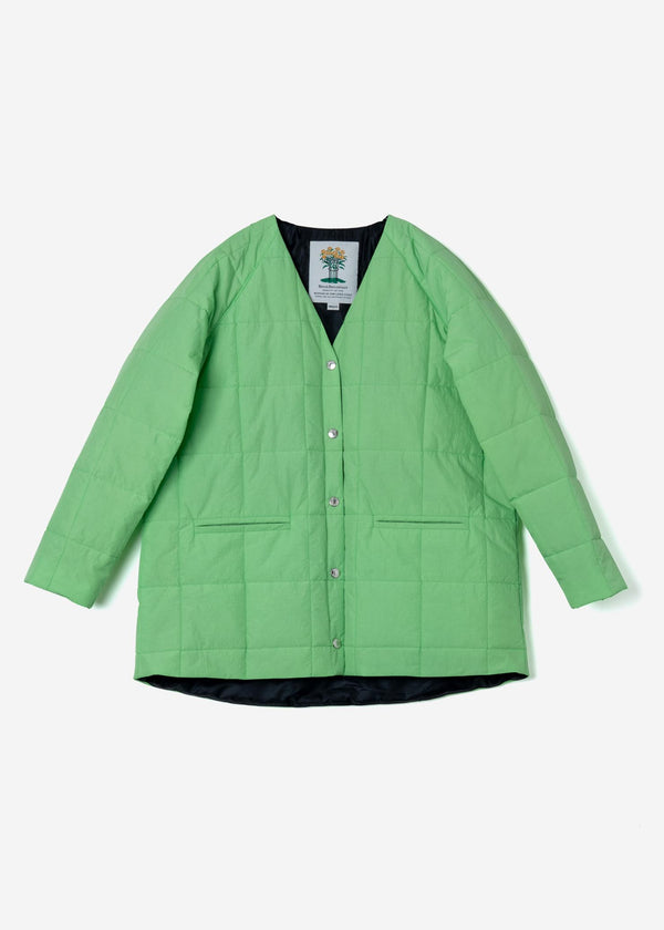 Nylon Taffeta Quilted Liner Half Jacket in Light Green