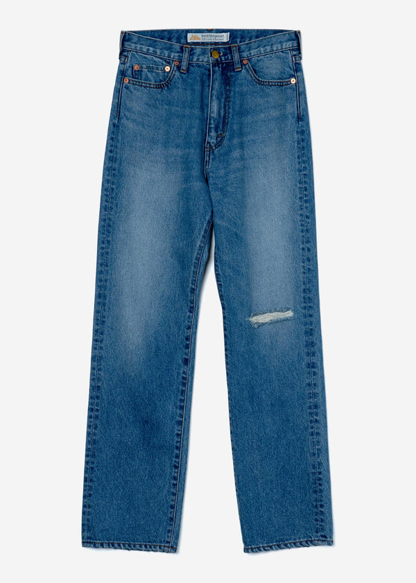High-Rise Straight Distressed Jeans in Indigo